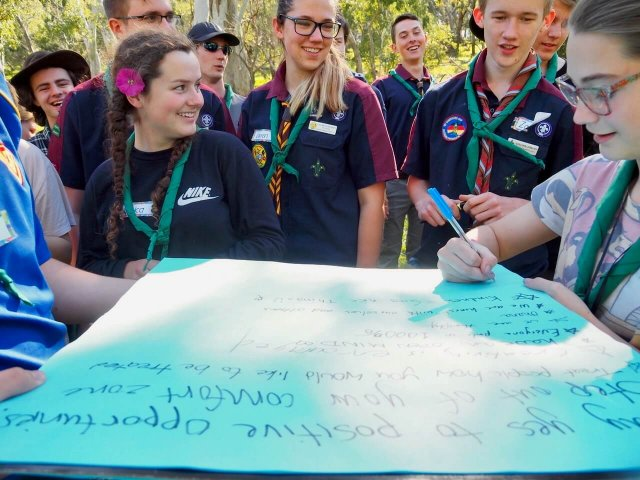 You + Lead Group of Venturer Scouts Gathered Around Paper