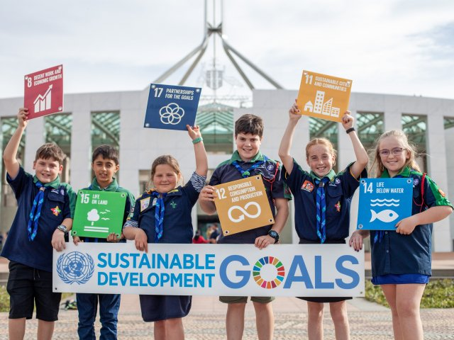 National Plastics Summit Waste Crisis Scouts out the front of Parliament House SDG Sign