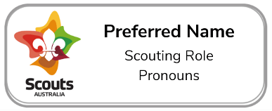National Rover Scout Update Pronoun Name Badge Example