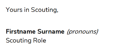 National Rover Scout Update Pronoun Email Signature Example