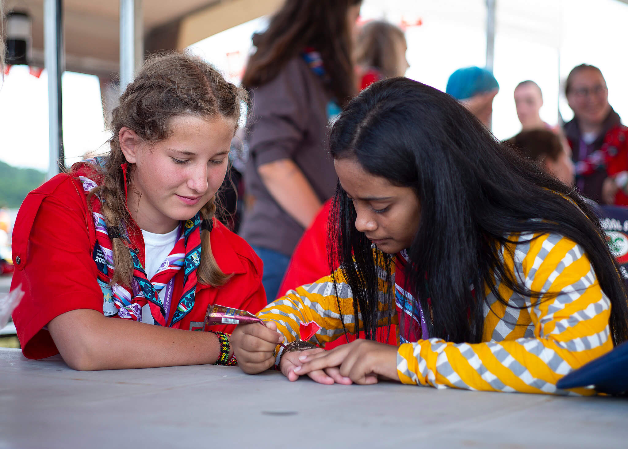 Two Scouts Doing Art at World Jamboree Cultural Diversity