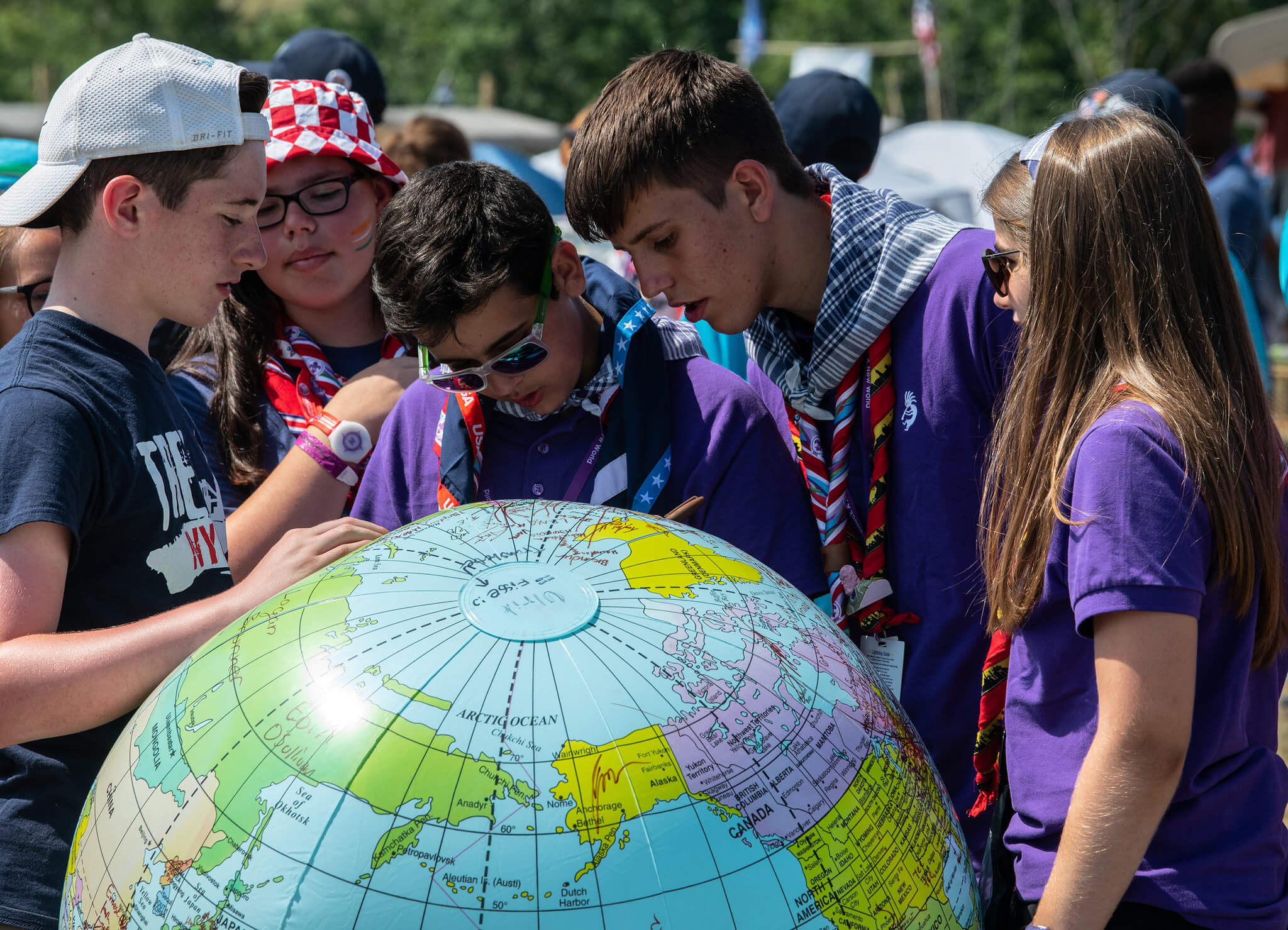 Scouts Looking at Giant Globe World Scout Jamboree 2023
