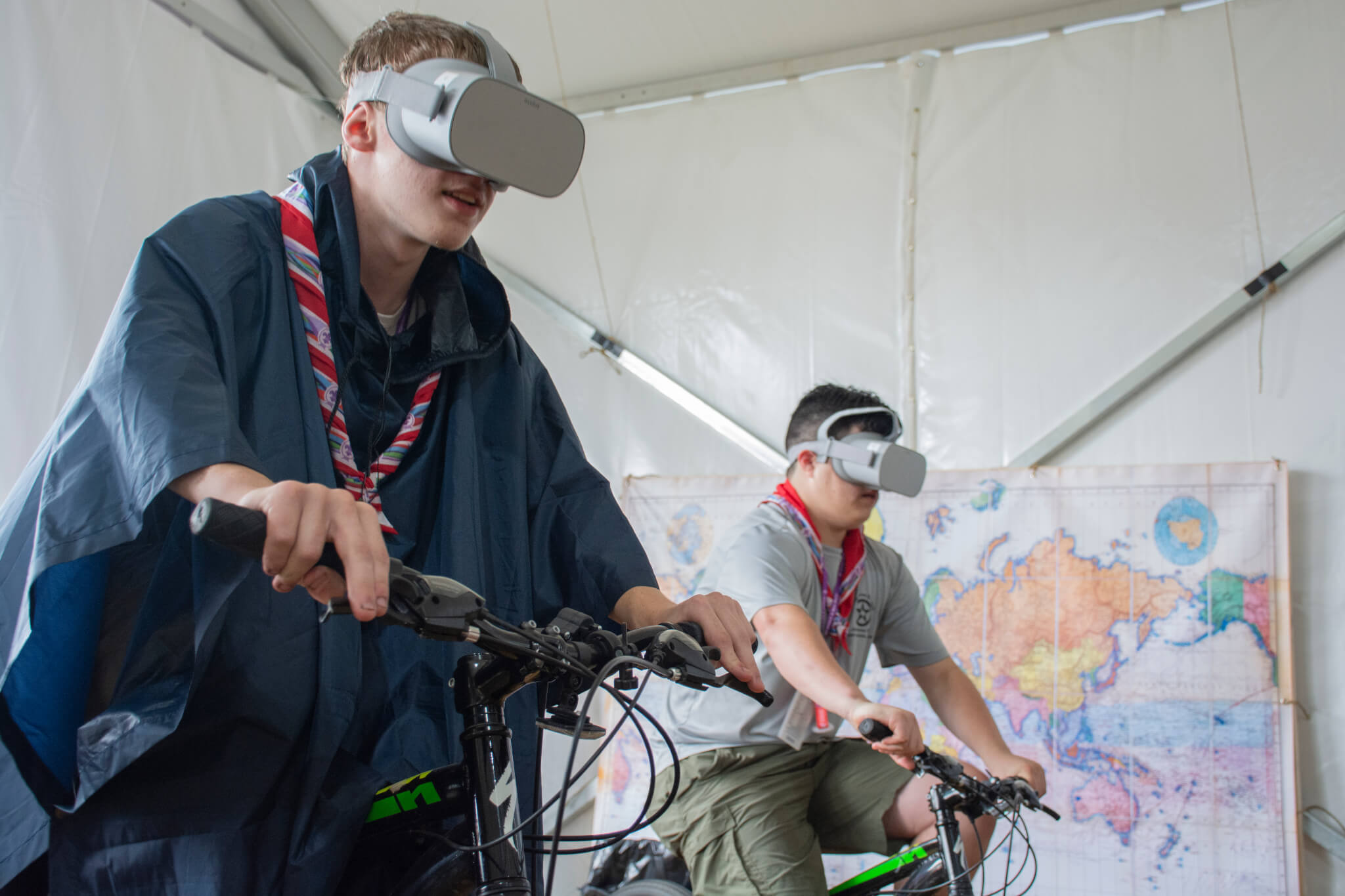 Reasonable Adjustment Webinar Scouts on Bikes with Virtual Reality Headsets